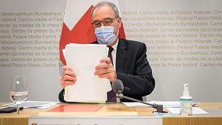 Guy Parmelin, président de la Confédération suisse, lors d'une conférence de presse le 26 mai 2021 à Berne