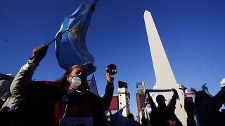 Protestas en Buenos Aires contra la gestión de Alberto Fernández frente a la pandemia.