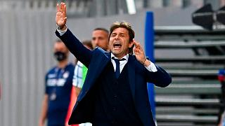 Inter Milan's coach Antonio Conte gives directions to the players during the Italian Serie A football match