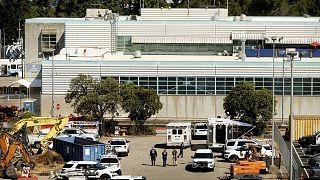 Gare des transports publics du comté de Santa Clara, à San Jose en Californie, où une fusillade a éclaté causant la mort d'au moins 8 personnes, le 26 mai 2021