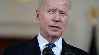 President Joe Biden speaks in the Cross Hall of the White House in Washington on Thursday, May 20, 2021.