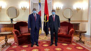 Presidente da RCA, Faustin Archange Touadéra e presidente angolano João Lourenço, esta quarta-feira em Luanda, Angola