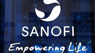 the logo of French drug maker Sanofi is pictured at the company's headquarters, in Paris.