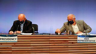الممثل الأعلى للأمن والسياسة الخارجية بالاتحاد الأوروبي، جوزيب بوريل ووزير خارجية البرتغال، أوغستو سانتوس سيلفا، لشبونة،27 أيار/مايو 2021