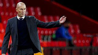 Zinédine Zidane még a Real edzőjeként, a Granada elleni bajnokin 2021. május 13-án.