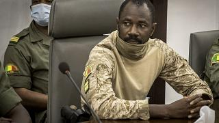 Col. Assimi Goita at the Ministry of Defense in Bamako, Mali. on Aug. 22, 2020.