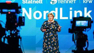 Erna Solberg bei der Eröffnung von Nordlink
