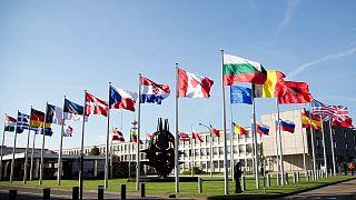 Brüksel'deki NATO üyesi ülkelerin bayrakları