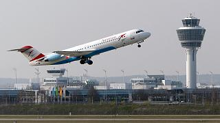 In this file photo from April 1, 2014, an Austrian Airlines airplane takes off from the airport in Munich, southern Germany  (AP Photo/Matthias Schrader, File)