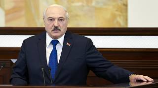 In this Wednesday, May 26, 2021, file photo, Belarusian President Alexander Lukashenko addresses Parliament in Minsk, Belarus.