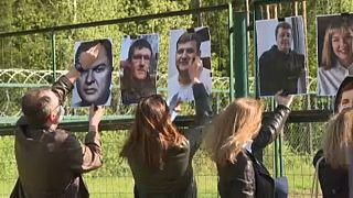Tüntetés a belarusz-litván határon