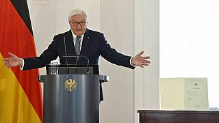 Deutschlands Präsident Frank-Walter Steinmeier bei einer Rede im Schloss Bellevue, Berlin, 21.05.2021