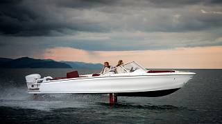 Swedish company Candela Speed Boat displays a hydrofoil 'flying boat'.