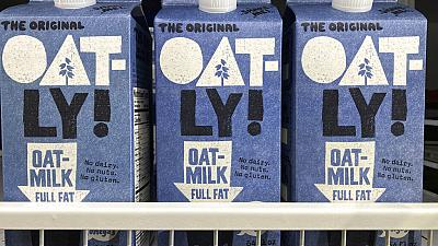 Oatly containers in North Miami, US