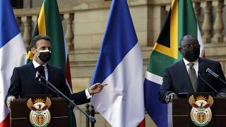 President Macron lands in South Africa for a two-day visit