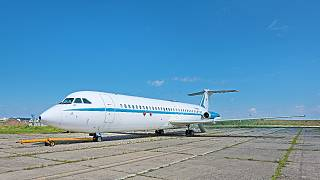 A plane belonging to Nicolae Ceaușescu's fleet is seen at Otopeni air base near Bucharest and released by Artmark auction house on May 4, 2021.