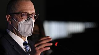 World Health Organization Director for Europe Hans Kluge speaks to media during a press conference at a vaccination centre in Bucharest, Romania, Wednesday, April 7, 2021.