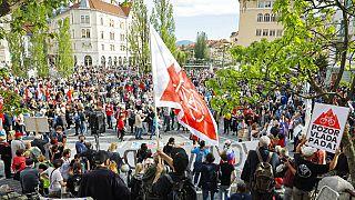 Kormányellenes tüntetés Ljubljanában, 2021. március 28-án.