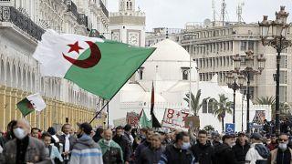 متظاهرون في شوارع الجزائر العاصمة. 2021/04/16