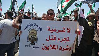 سوريون يتظاهرون في إدلب ضد ما وصفه انتخابات رئاسية غير شرعية، أفضت إلى فوز بشار الأسد بولاية رئاسية رابعة. 26/05/2021