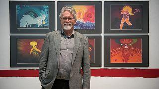 Képpraxisok 2. című kiállításának sajtóbejárásán a Műcsarnokban 2019-ben