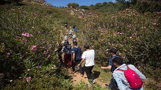 أشخاص يعبرون غابة قرب مدينة الفنيدق الحدودية شمال المغرب في طريقهم إلى جيب سبتة الإسباني يوم الثلاثاء 18 أيار/مايو 2021