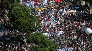 People protest against the government's response in combating COVID-19, demanding the impeachment of President Jair Bolsonaro, in Rio de Janeiro, Brazil, May 29, 2021.