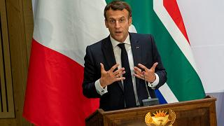 French President Emmanuel Macron delivers a speech at the University of Pretoria Future Africa in Pretoria, South Africa, Friday May 28, 2021.