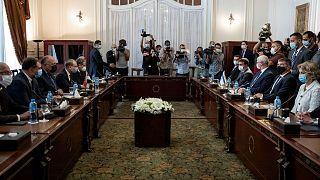 Egyptian Foreign Minister Sameh Shoukry meets Israeli Foreign Minister Gabi Ashkenazi