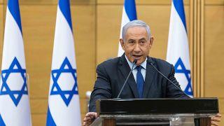 Benjámin Netanjahu izraeli miniszterelnök a jeruzsálemi parlamentben 2021. május 30.