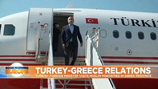 Turkey's Foreign Minister Mevlut Cavusoglu disembarking from plane, greeting officials