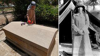 """غرترود بيل الملقبة بـ """"والدة العراق الحديث"""" (يمين) وعلى منصور المسؤول عن مكان دفنها في بغداد (يسار)"""
