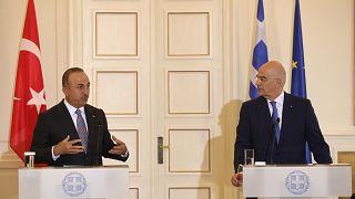 Dışişleri Bakanı Mevlüt Çavuoğlu ve Yunanistan Dışişleri Bakanı Nikos Dendias