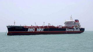 ناقلة النفط ستينا إمبيرو التي ترفع العلم البريطاني والتي احتجزها الحرس الثوري الإيراني في ميناء بندر عباس الإيراني، 20 يوليو / تموز 2019