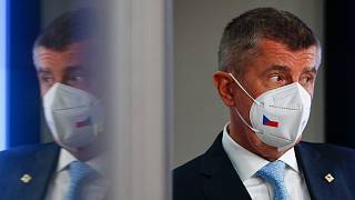 Czech Republic's Prime Minister Andrej Babis after an EU summit in Brussels. Tuesday, May 25, 2021,