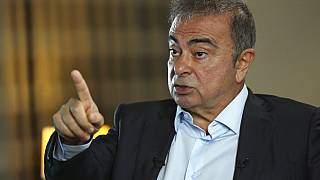 Former Nissan executive Carlos Ghosn speaks during an interview with the Associated Press, in Dbayeh, north of Beirut, Lebanon, Tuesday, May 25, 2021.