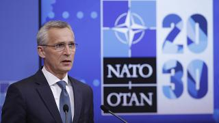 NATO Secretary General Jens Stoltenberg speaks during a press briefing ahead of an online foreign and defence ministers' meeting in Brussels, Monday May 31, 2021.
