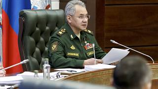 Russian Defense Minister Sergei Shoigu speaks during a meeting with hight level military officials in Moscow, Russia, May 31, 2021.