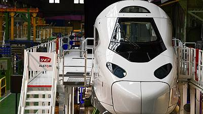 """The nose of the SNCF's """"TGV M"""" next generation high-speed train is pictured at the Alstom plant in Belfort, eastern France, on May 26, 2021."""