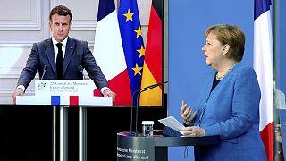 Almanya Başbakanı Angela Merkel ile Fransa Cumhurbaşkanı Emmanuel Macron, sanal ortak basın toplantısı düzenledi