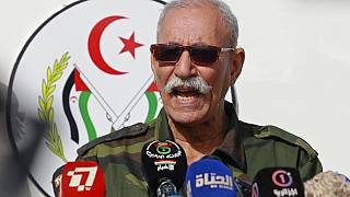 FILE - In this Feb. 27, 2021 file photo, Brahim Ghali, leader of the Polisario front, delivers a speech in a refugee camp near Tindouf, southern Algeria.