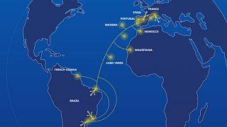 Mapa com as diversas ligações do primeiro cabo ótico entre a Europa e a América do Sul