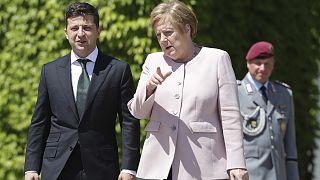 Ukrayna Devlet Başkanı Vladimir Zelenski, Almanya Başbakanı Angela Merkel (arşiv)