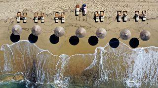 Plaka beach on the Aegean island of Naxos, Greece,