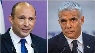 Yemina party leader Naftali Bennett (left) and Yesh Atid leader Yair Lapid