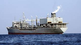 This undated photo provided by the Iranian army shows navy's support ship Kharg.