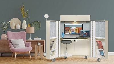 Antti Evävaara's mobile, fold-away work station for remote working from home.