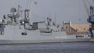 سفينة حربية روسية في ميناء بورتسودان في شباط/فبراير 2021