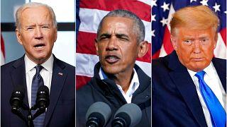 ABD'nin son 3 Başkanı soldan sağa JOe Biden, Barack Obama ve Donald Trump.
