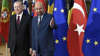 Cumhurbaşkanı Recep Tayyip Erdoğan ve Avrupa Konseyi Başkanı Charles Michel